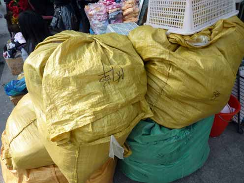 Woven plastic sacks ubiquitous in China