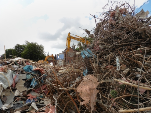 Demolition in progress in June 2015